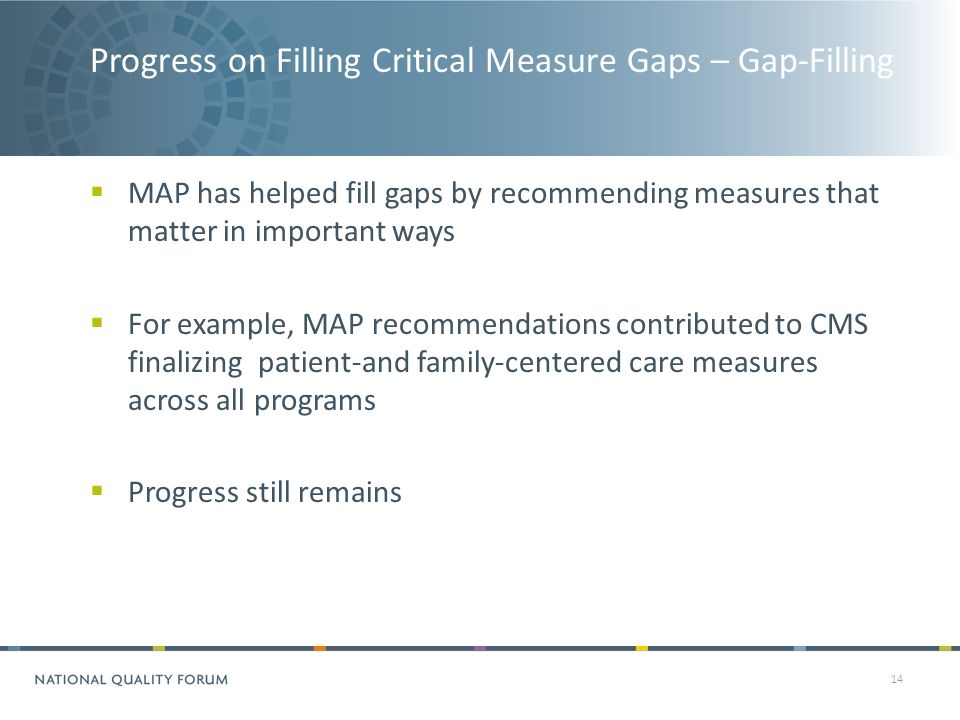 Progress on Filling Critical Measure Gaps – Gap-Filling 14  MAP has helped fill gaps by recommending measures that matter in important ways  For example, MAP recommendations contributed to CMS finalizing patient-and family-centered care measures across all programs  Progress still remains