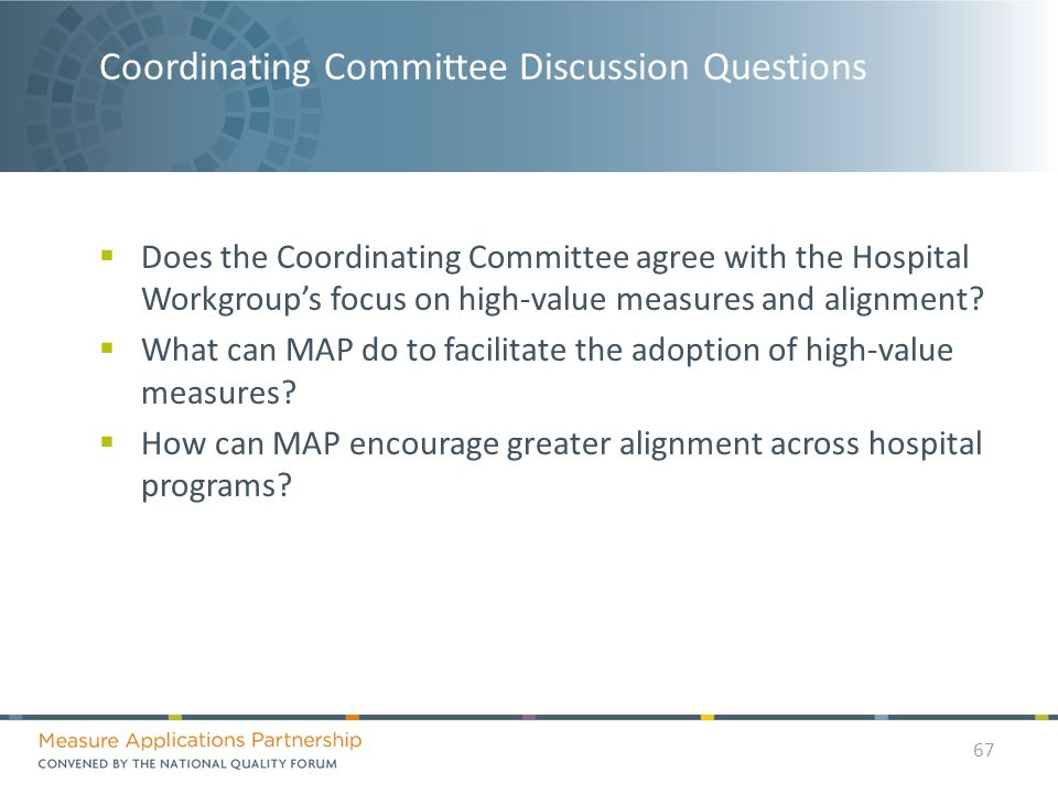 Coordinating Committee Discussion Questions  Does the Coordinating Committee agree with the Hospital Workgroup's focus on high-value measures and alignment.