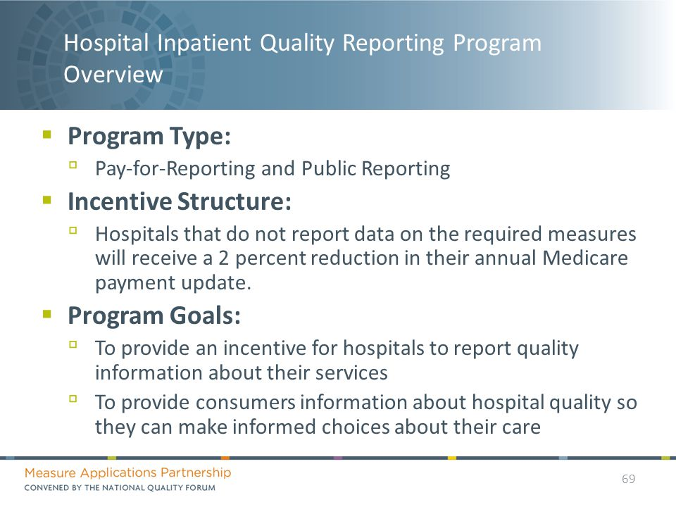 Hospital Inpatient Quality Reporting Program Overview  Program Type: ▫ Pay-for-Reporting and Public Reporting  Incentive Structure: ▫ Hospitals that do not report data on the required measures will receive a 2 percent reduction in their annual Medicare payment update.