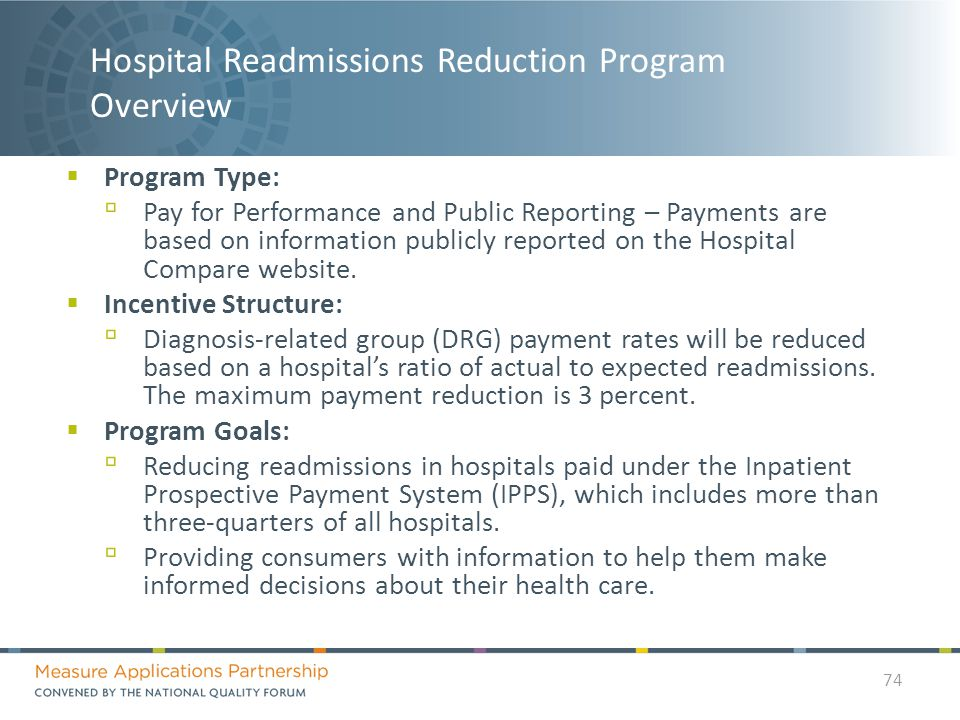 Hospital Readmissions Reduction Program Overview  Program Type: ▫ Pay for Performance and Public Reporting – Payments are based on information publicly reported on the Hospital Compare website.