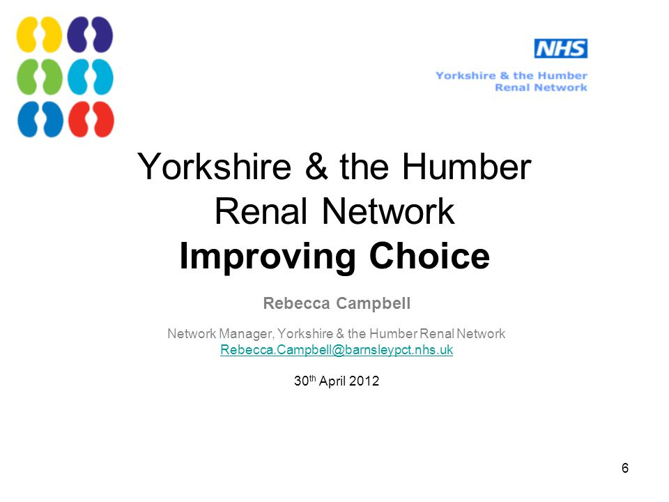  Worked with renal units to develop a service Home Therapies service specification  Communications issued and started discussions re.