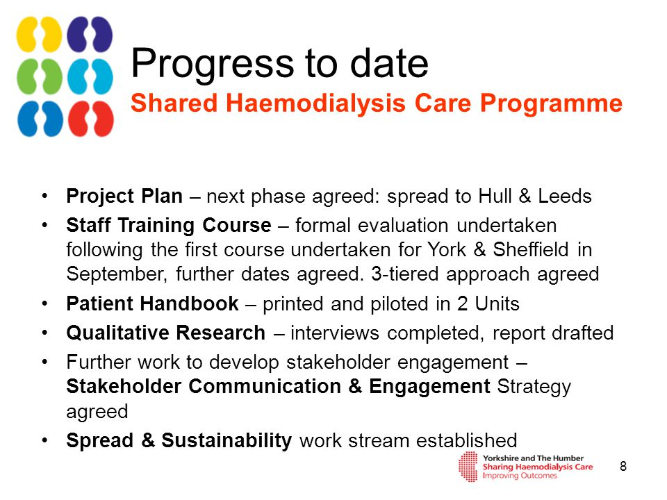 Patients training for home haemodialysis April 2012 Currently 3 training due home May, June and July Currently 5 referred for training and assessed as suitable 3 predialysis, 1 awaiting fistula, 1 waiting home conversion 4 patients on dialysis awaiting assessment
