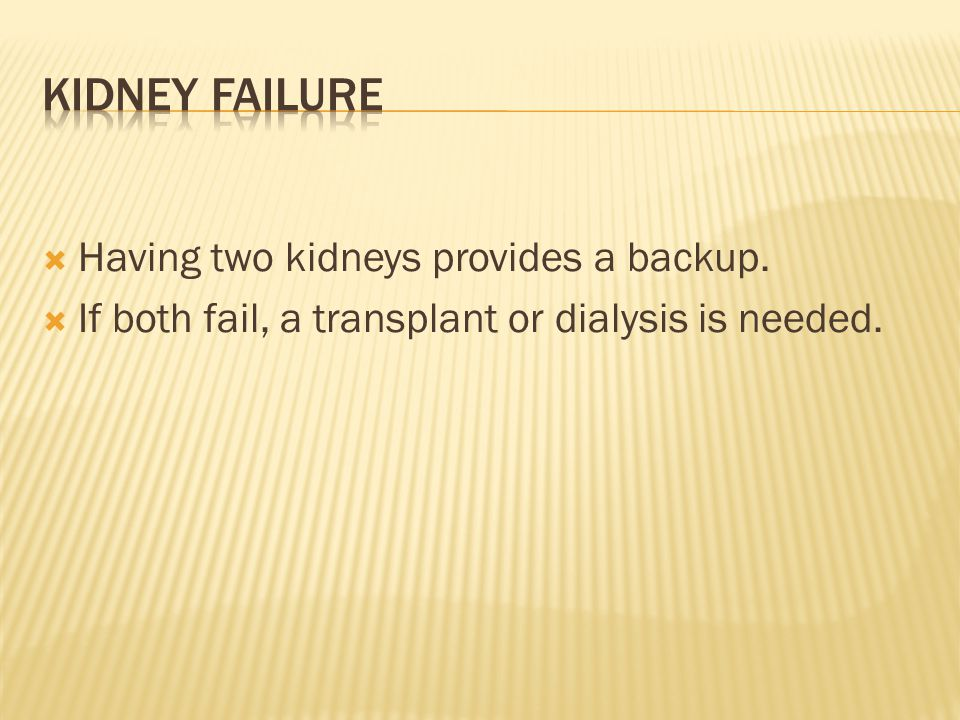  Having two kidneys provides a backup.  If both fail, a transplant or dialysis is needed.