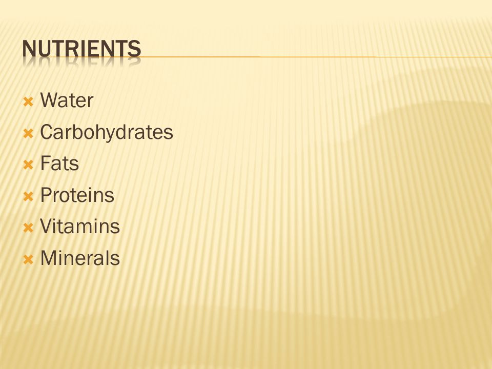  Water  Carbohydrates  Fats  Proteins  Vitamins  Minerals