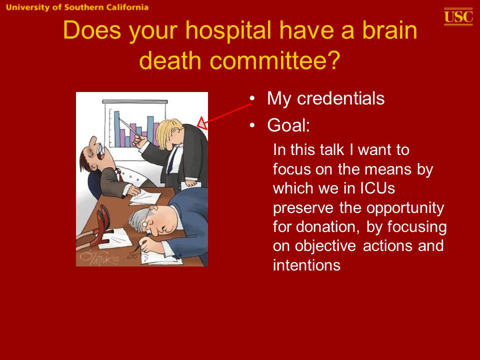Does your hospital have a brain death committee? My credentials Goal: In this talk I want to focus on the means by which we in ICUs preserve the oppor