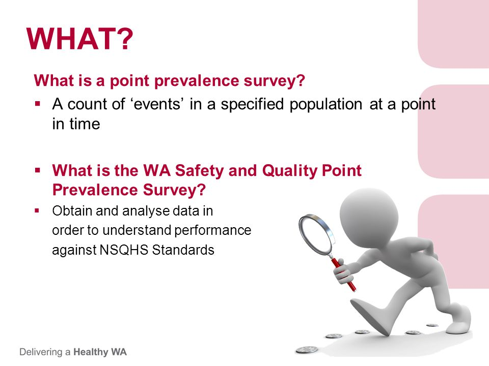 WHAT. What is a point prevalence survey.