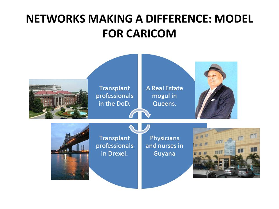 NETWORKS MAKING A DIFFERENCE: MODEL FOR CARICOM Transplant professionals in the DoD. A Real Estate mogul in Queens. Physicians and nurses in Guyana Tr