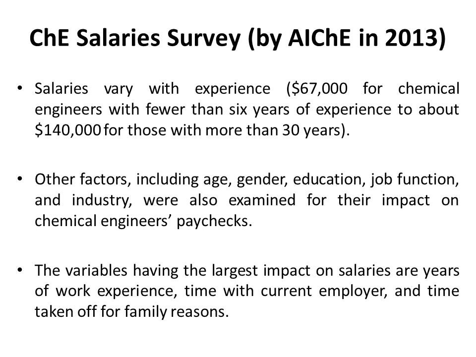 ChE Salaries Survey (by AIChE in 2013) Salaries vary with experience ($67,000 for chemical engineers with fewer than six years of experience to about