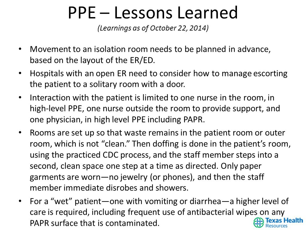 Movement to an isolation room needs to be planned in advance, based on the layout of the ER/ED.