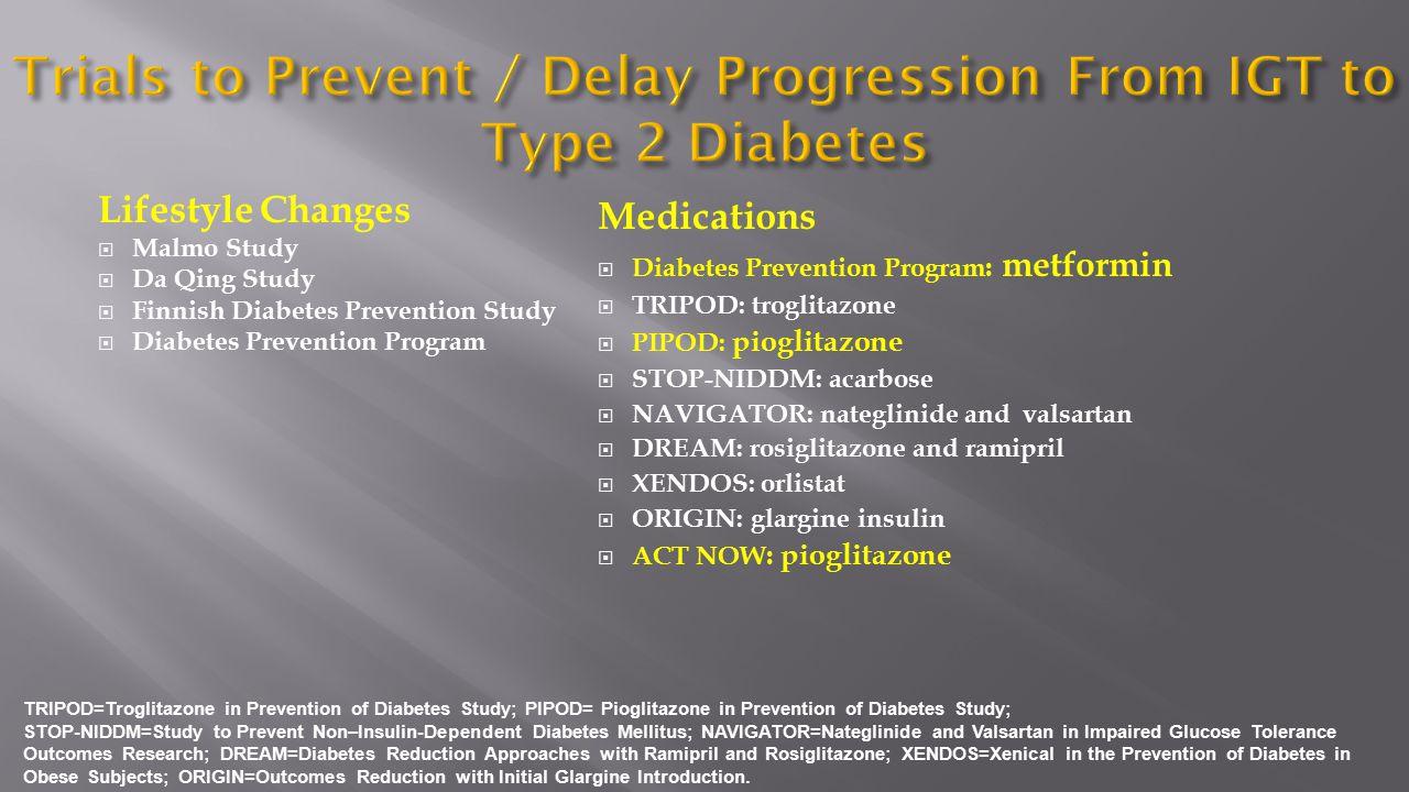 Lifestyle Changes  Malmo Study  Da Qing Study  Finnish Diabetes Prevention Study  Diabetes Prevention Program Medications  Diabetes Prevention Pr