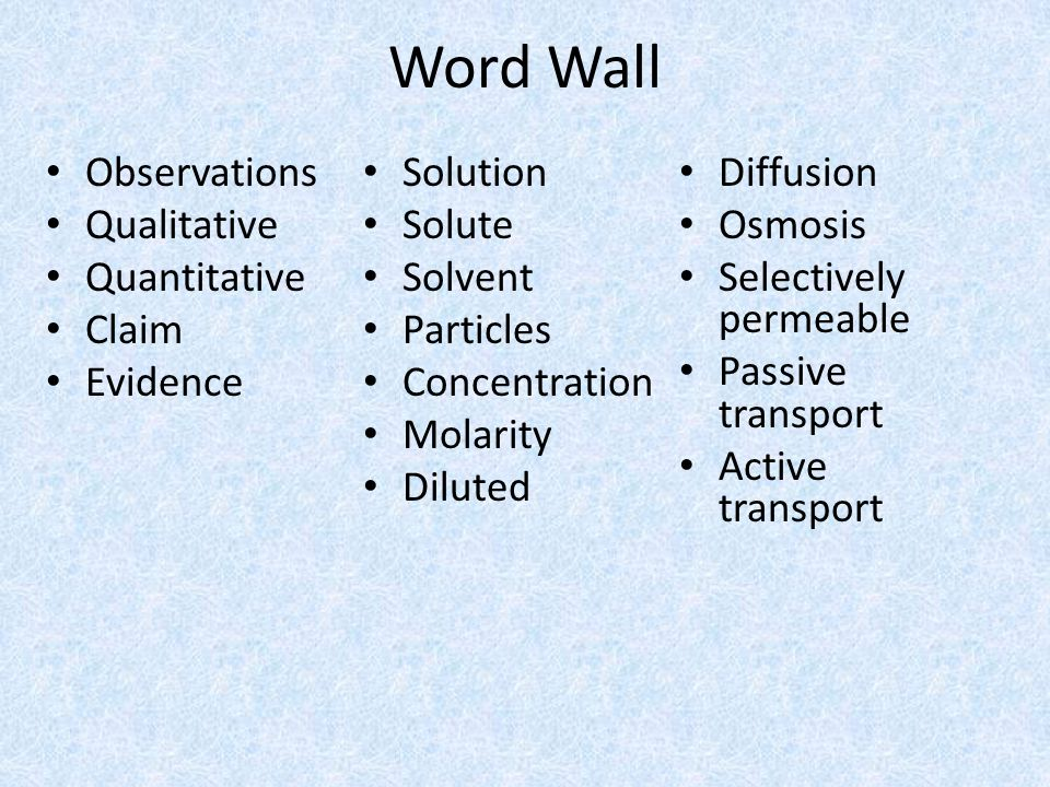 Word Wall Observations Qualitative Quantitative Claim Evidence Solution Solute Solvent Particles Concentration Molarity Diluted Diffusion Osmosis Selectively permeable Passive transport Active transport