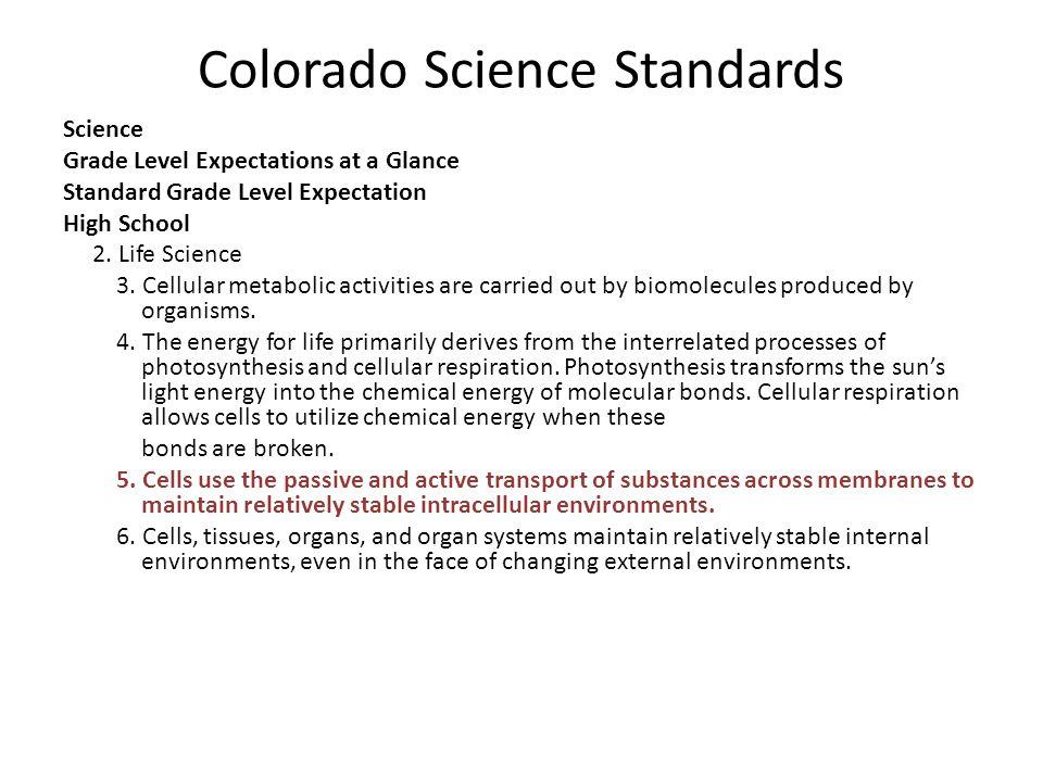 Colorado Science Standards Science Grade Level Expectations at a Glance Standard Grade Level Expectation High School 2.