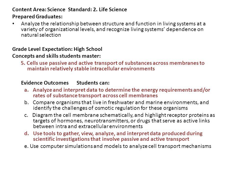 Content Area: Science Standard: 2.
