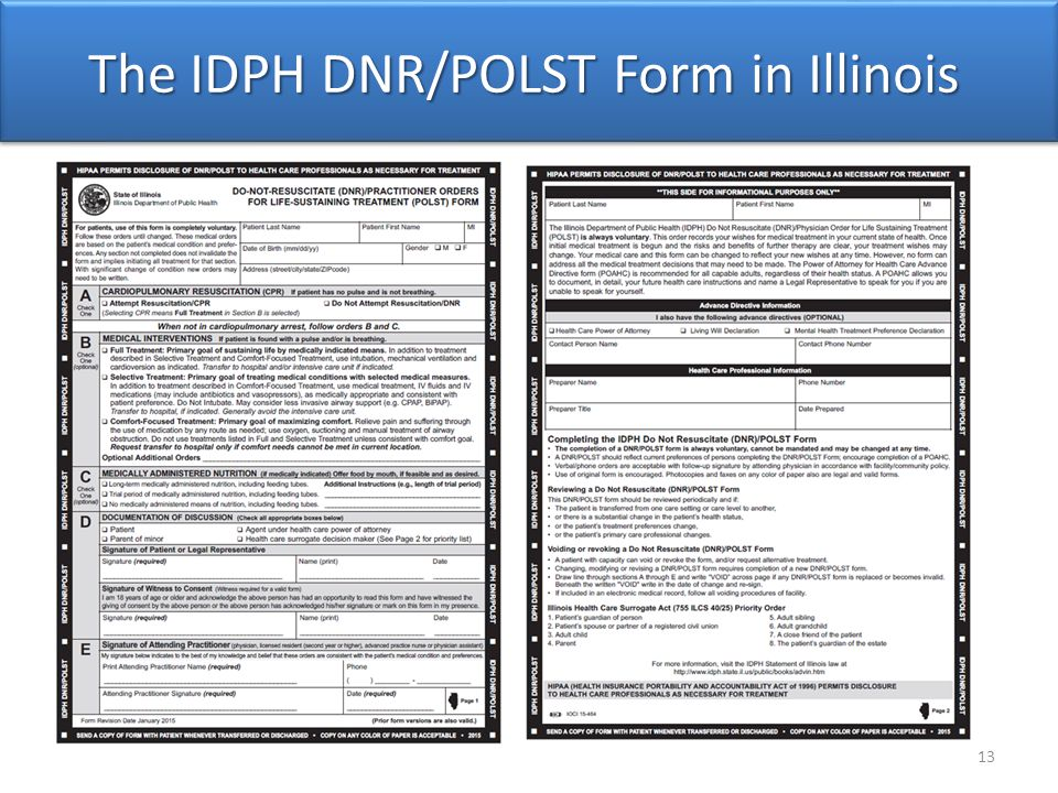 The IDPH DNR/POLST Form in Illinois 13