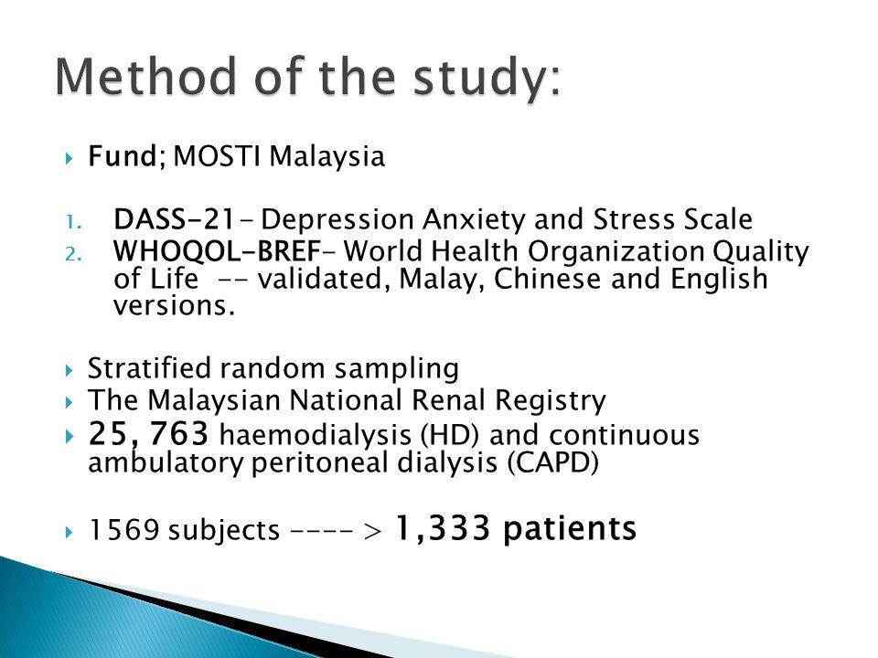  Fund; MOSTI Malaysia 1.DASS-21- Depression Anxiety and Stress Scale 2.