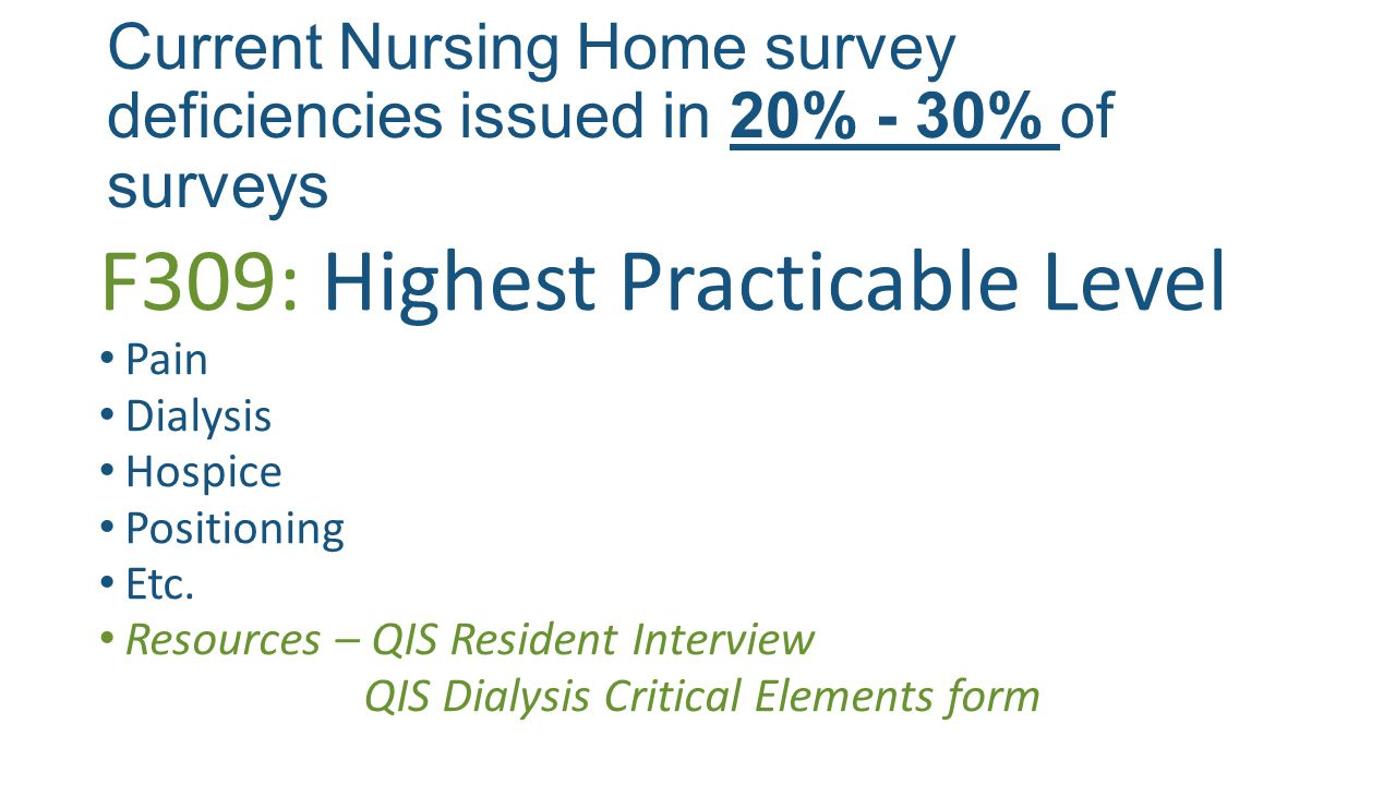 Current Nursing Home survey deficiencies issued in 20% - 30% of surveys F309: Highest Practicable Level Pain Dialysis Hospice Positioning Etc.