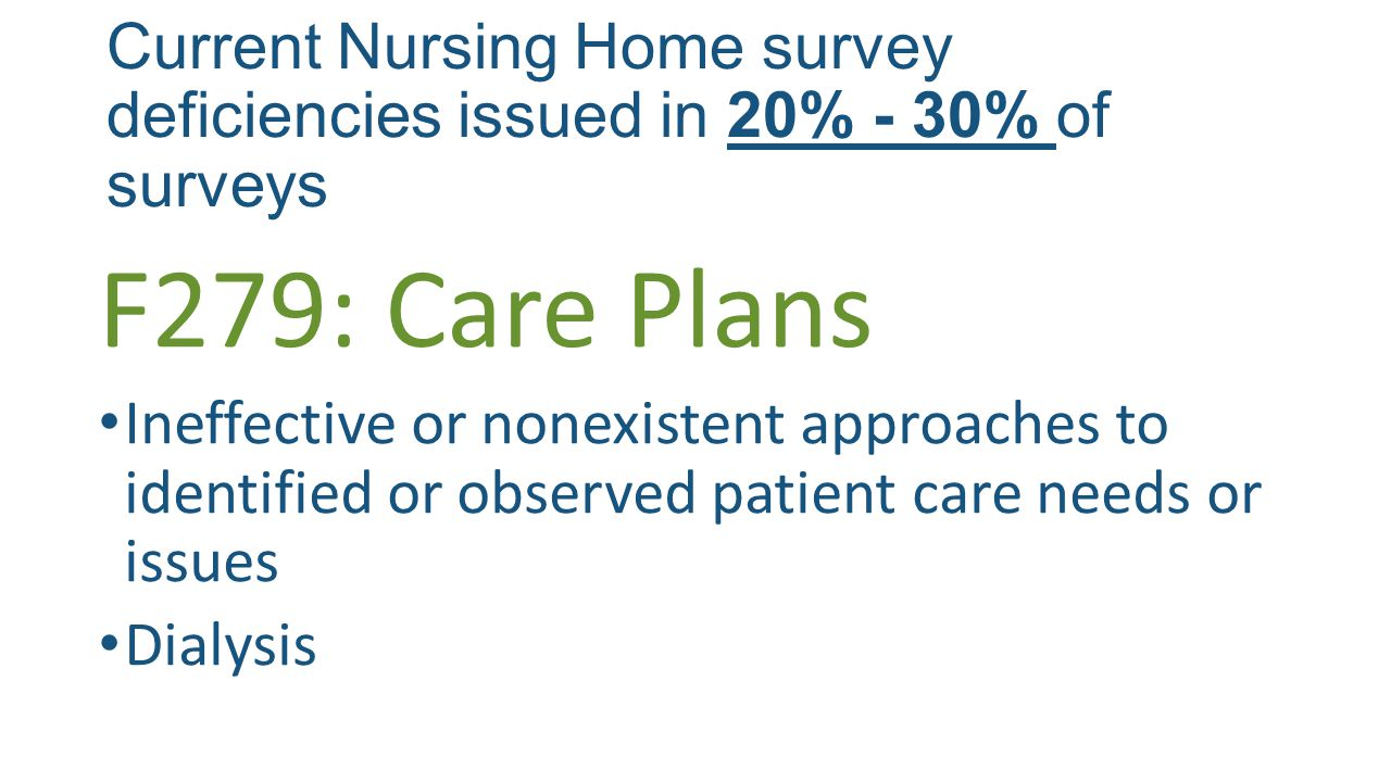 Current Nursing Home survey deficiencies issued in 20% - 30% of surveys F279: Care Plans Ineffective or nonexistent approaches to identified or observed patient care needs or issues Dialysis