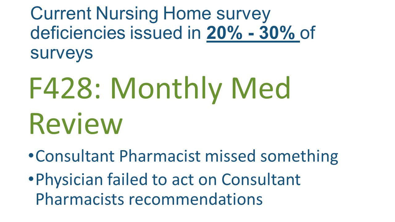 Current Nursing Home survey deficiencies issued in 20% - 30% of surveys F428: Monthly Med Review Consultant Pharmacist missed something Physician failed to act on Consultant Pharmacists recommendations