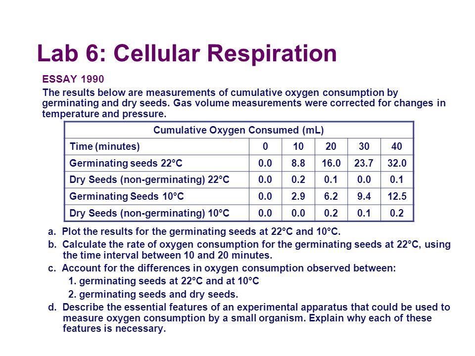 Lab 6: Cellular Respiration  Conclusions   temp =  respiration   germination =  respiration calculate rate?