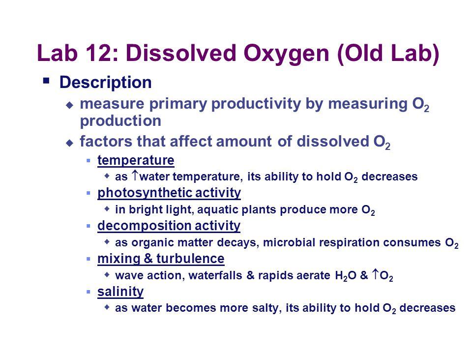 Lab 12: Dissolved Oxygen (Old Lab)