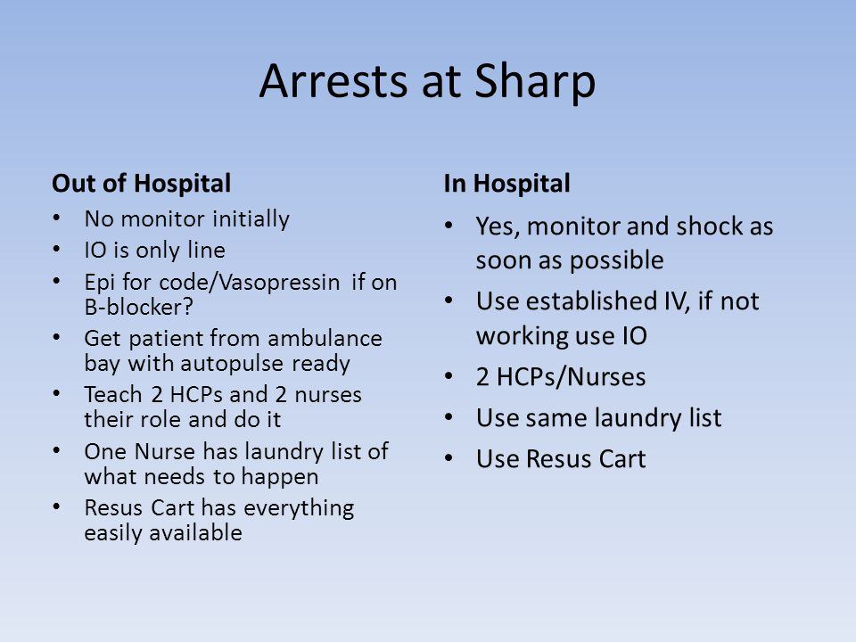 Arrests at Sharp Out of Hospital No monitor initially IO is only line Epi for code/Vasopressin if on B-blocker.
