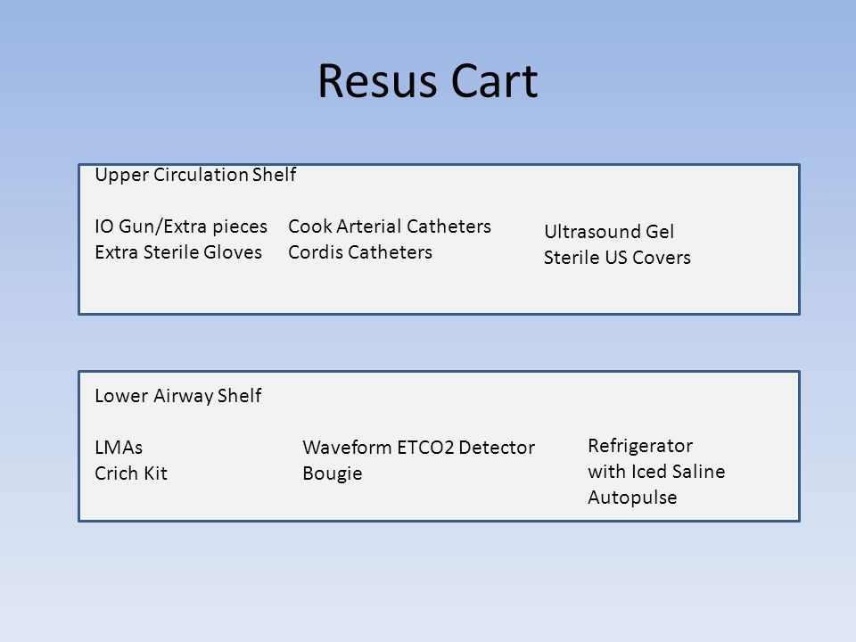 Resus Cart Upper Circulation Shelf IO Gun/Extra pieces Extra Sterile Gloves Cook Arterial Catheters Cordis Catheters Ultrasound Gel Sterile US Covers Lower Airway Shelf LMAs Crich Kit Waveform ETCO2 Detector Bougie Refrigerator with Iced Saline Autopulse