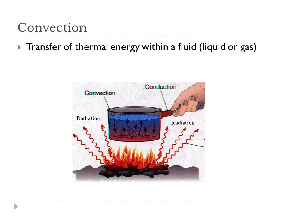Convection  Transfer of thermal energy within a fluid (liquid or gas)