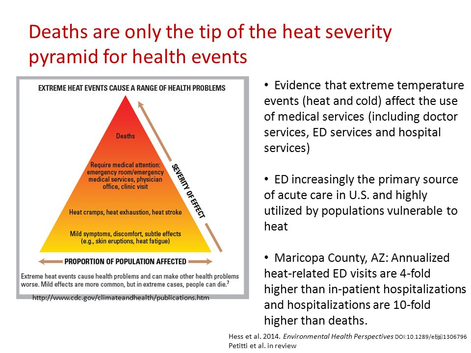 Deaths are only the tip of the heat severity pyramid for health events http://www.cdc.gov/climateandhealth/publications.htm Evidence that extreme temperature events (heat and cold) affect the use of medical services (including doctor services, ED services and hospital services) ED increasingly the primary source of acute care in U.S.