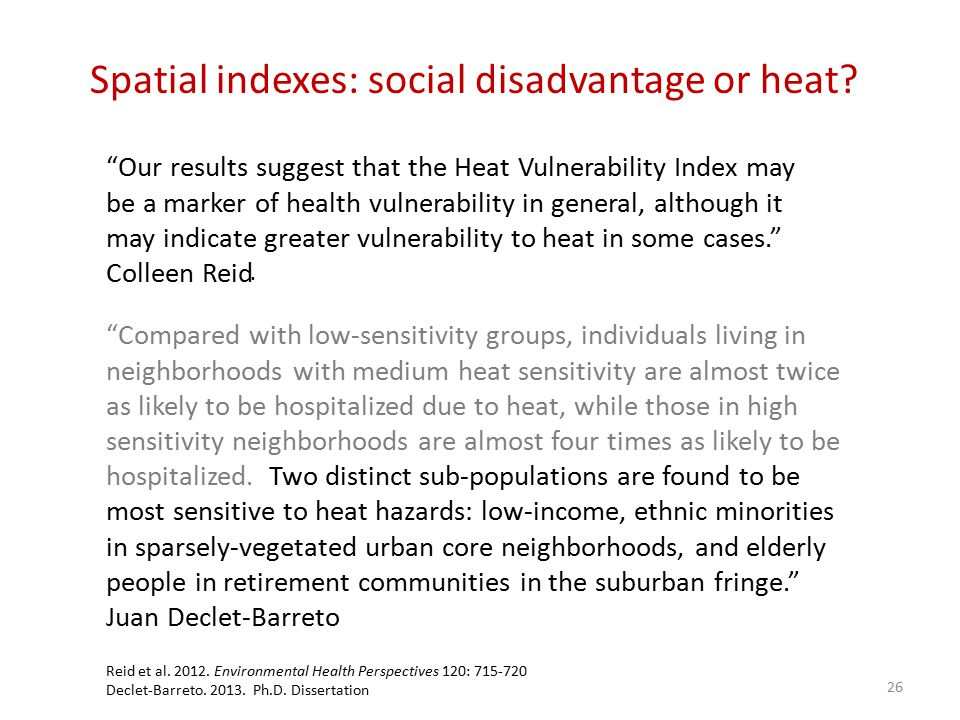 Spatial indexes: social disadvantage or heat.