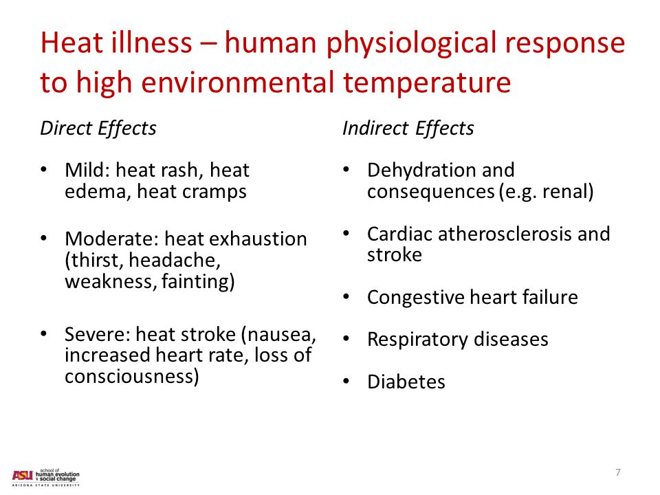 Heat illness – human physiological response to high environmental temperature Direct Effects Mild: heat rash, heat edema, heat cramps Moderate: heat exhaustion (thirst, headache, weakness, fainting) Severe: heat stroke (nausea, increased heart rate, loss of consciousness) Indirect Effects Dehydration and consequences (e.g.