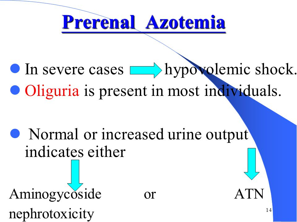 13 Prerenal Causes The most common cause of acute renal failure.