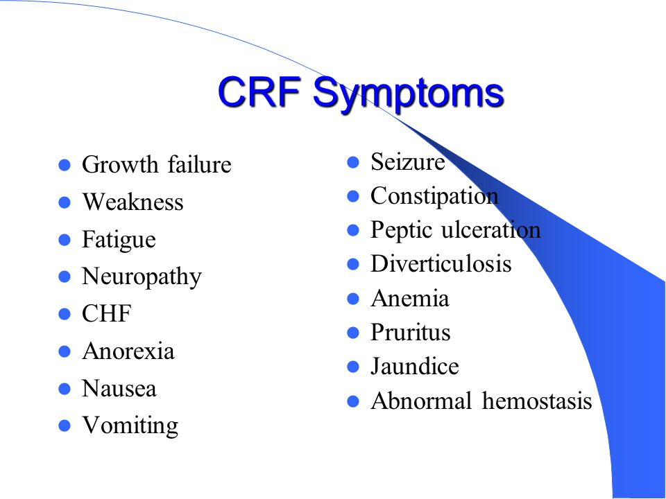 Chronic Renal Failure Causes Glomerular diseases 40% (after 5 yrs old) Anatomic abnormalities 20% (under 5 yrs old) Hereditary renal diseases 15% (aft