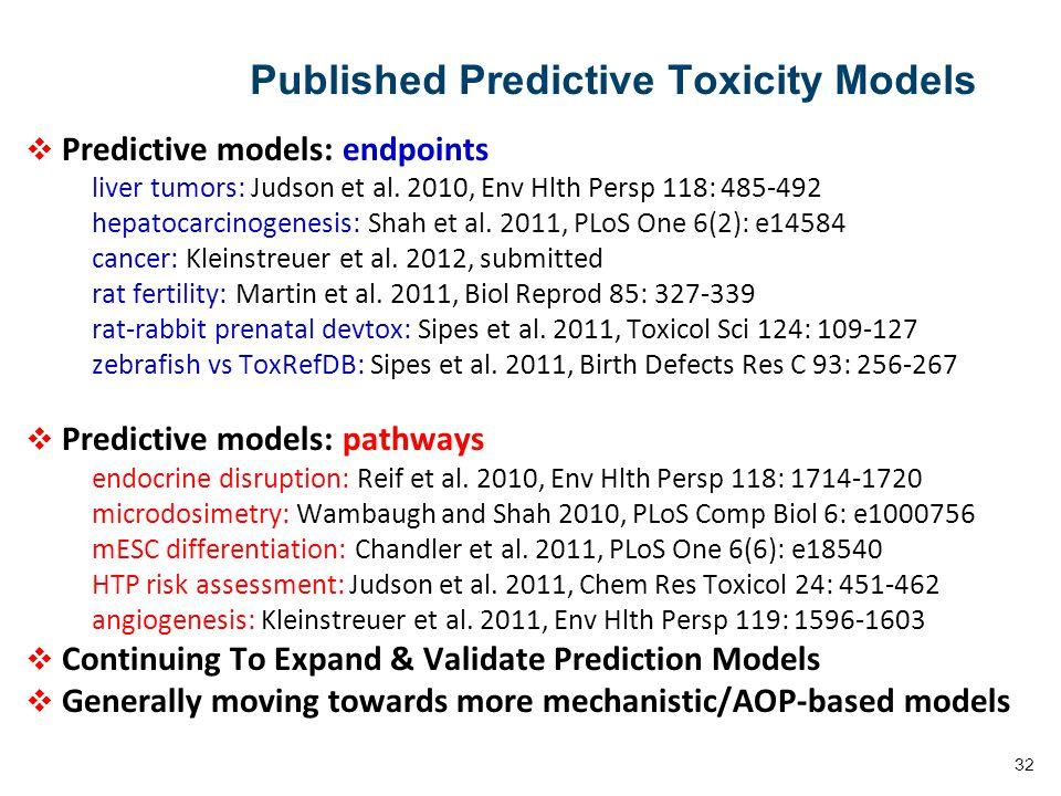 32 Published Predictive Toxicity Models  Predictive models: endpoints liver tumors: Judson et al.