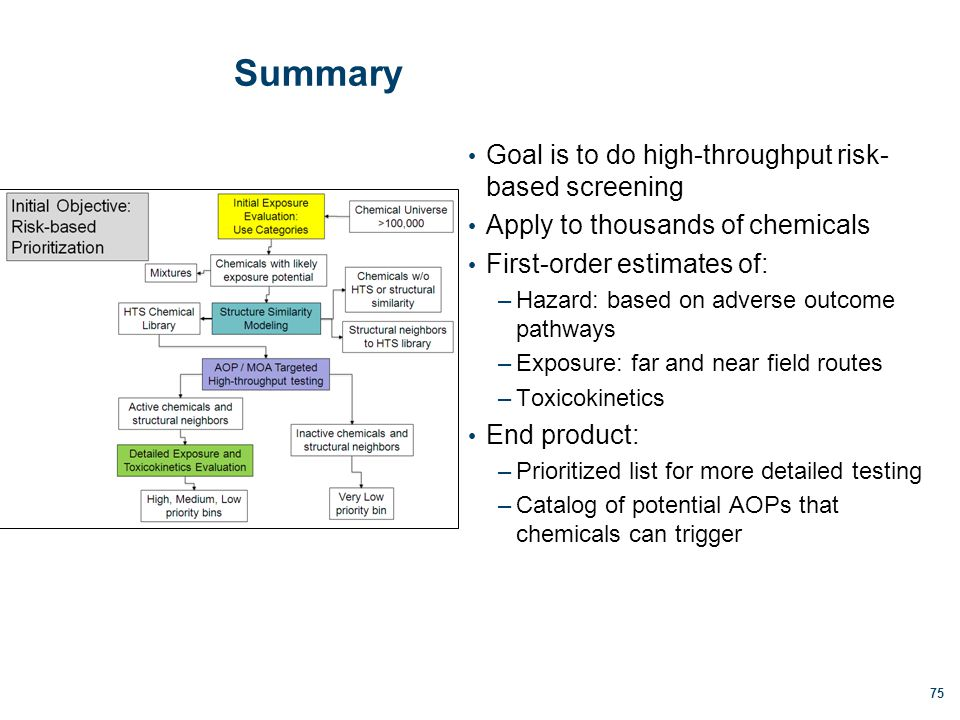 Summary Goal is to do high-throughput risk- based screening Apply to thousands of chemicals First-order estimates of: –Hazard: based on adverse outcome pathways –Exposure: far and near field routes –Toxicokinetics End product: –Prioritized list for more detailed testing –Catalog of potential AOPs that chemicals can trigger 75