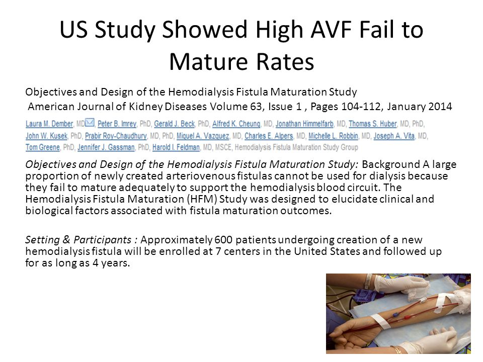 US Study Showed High AVF Fail to Mature Rates Objectives and Design of the Hemodialysis Fistula Maturation Study American Journal of Kidney Diseases V