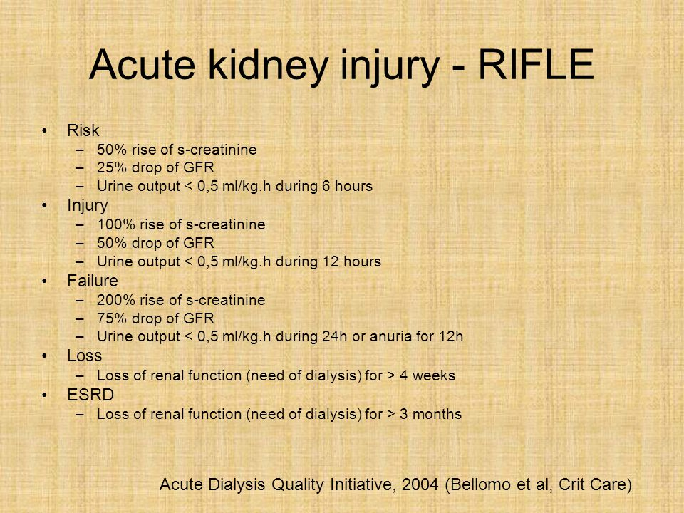 Acute kidney injury - AKIN Diagnostic criteria AKI –Sudden (during 48h) rise of s-creatinine ≥ 26 umol/l above the baseline ≥ 50% above the baseline –Urine output < 0,5 ml/kg.h during 6 hours –Valid only after the correction of volume depletion and exclusion of urinary tract obstruction.