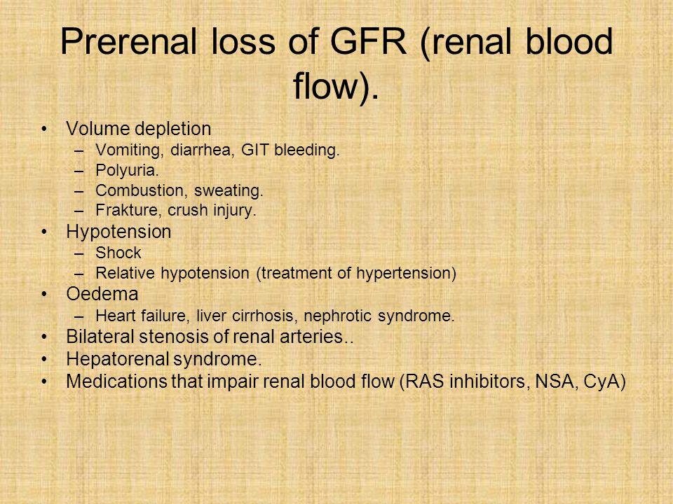Prerenal loss of GFR (renal blood flow). Volume depletion –Vomiting, diarrhea, GIT bleeding.