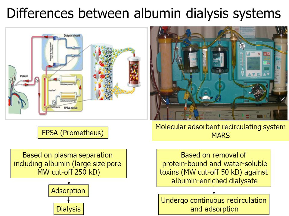 Differences between albumin dialysis systems FPSA (Prometheus) Based on plasma separation including albumin (large size pore MW cut-off 250 kD) Molecular adsorbent recirculating system MARS Adsorption Dialysis Based on removal of protein-bound and water-soluble toxins (MW cut-off 50 kD) against albumin-enriched dialysate Undergo continuous recirculation and adsorption