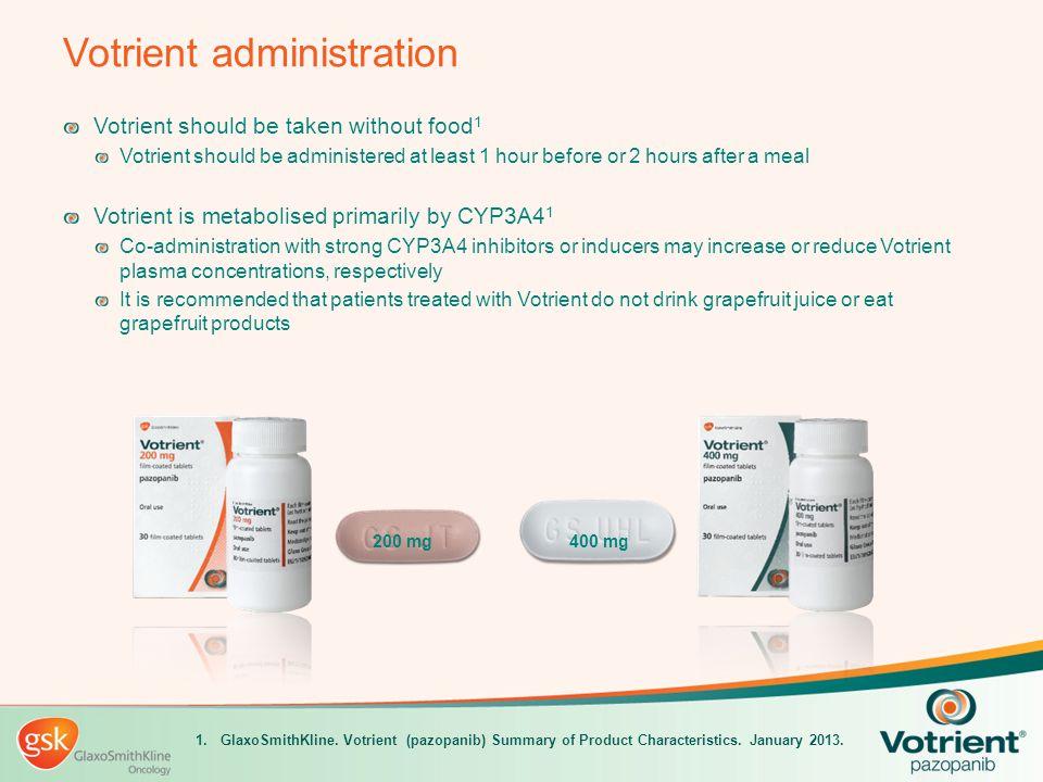 Votrient administration Votrient should be taken without food 1 Votrient should be administered at least 1 hour before or 2 hours after a meal Votrien
