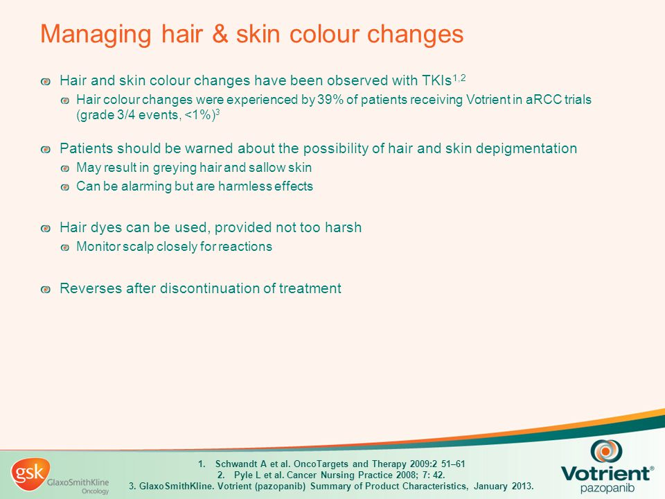 Managing hair & skin colour changes Hair and skin colour changes have been observed with TKIs 1,2 Hair colour changes were experienced by 39% of patie