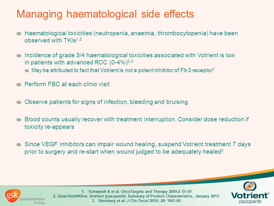 Managing haematological side effects Haematological toxicities (neutropenia, anaemia, thrombocytopenia) have been observed with TKIs 1,2 Incidence of