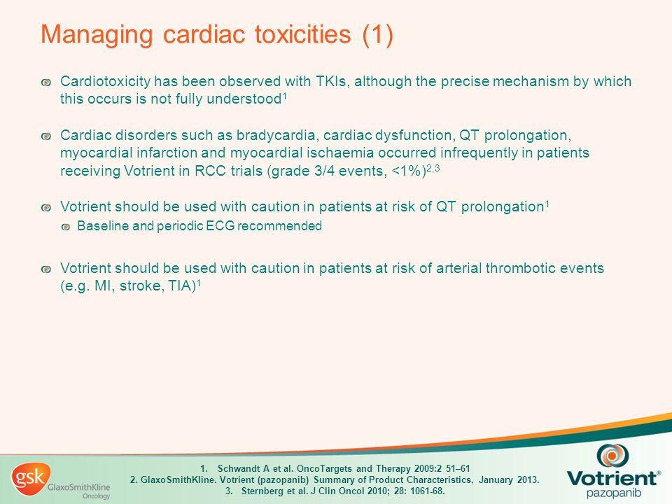Managing cardiac toxicities (1) Cardiotoxicity has been observed with TKIs, although the precise mechanism by which this occurs is not fully understoo
