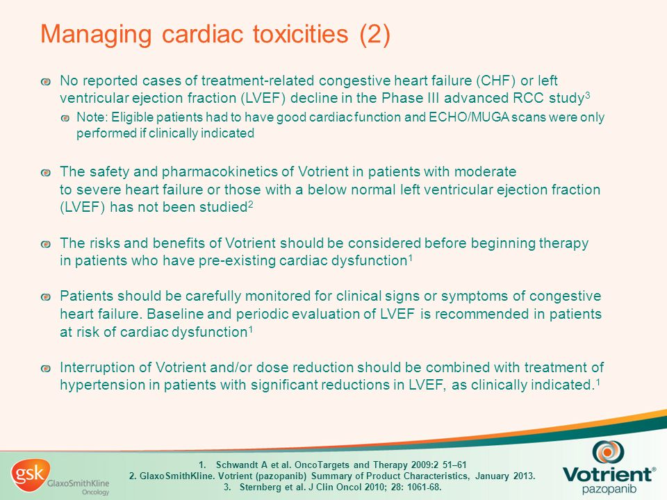 Managing cardiac toxicities (2) No reported cases of treatment-related congestive heart failure (CHF) or left ventricular ejection fraction (LVEF) dec