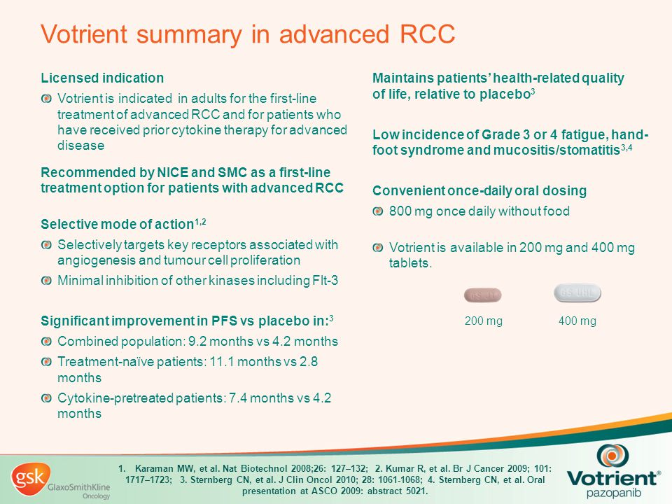 Votrient summary in advanced RCC Licensed indication Votrient is indicated in adults for the first-line treatment of advanced RCC and for patients who