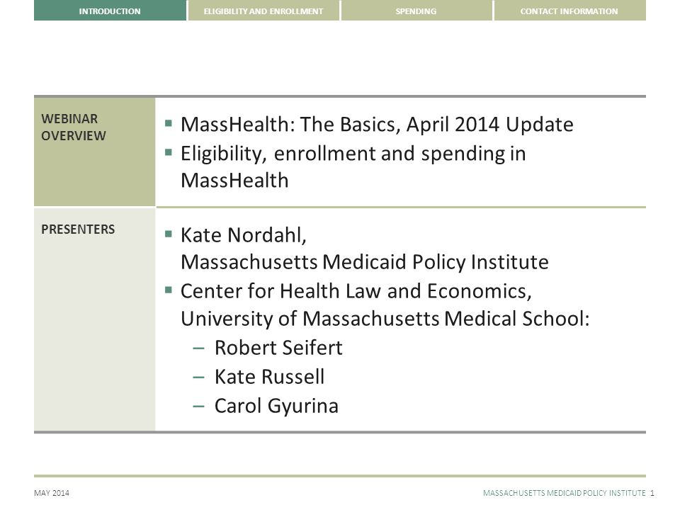 CONTACT INFORMATION MAY 2014MASSACHUSETTS MEDICAID POLICY INSTITUTE INTRODUCTIONELIGIBILITY AND ENROLLMENTSPENDING NOMINAL MASSHEALTH SPENDING HAS GROWN BY MORE THAN HALF SINCE 2005; WHEN ADJUSTED FOR MEDICAL INFLATION SPENDING HAS GROWN ON AVERAGE 2% ANNUALLY 12 SOURCE: MassHealth Budget Office.