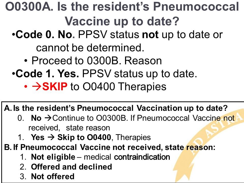 O0300A.Is the resident's Pneumococcal Vaccine up to date.