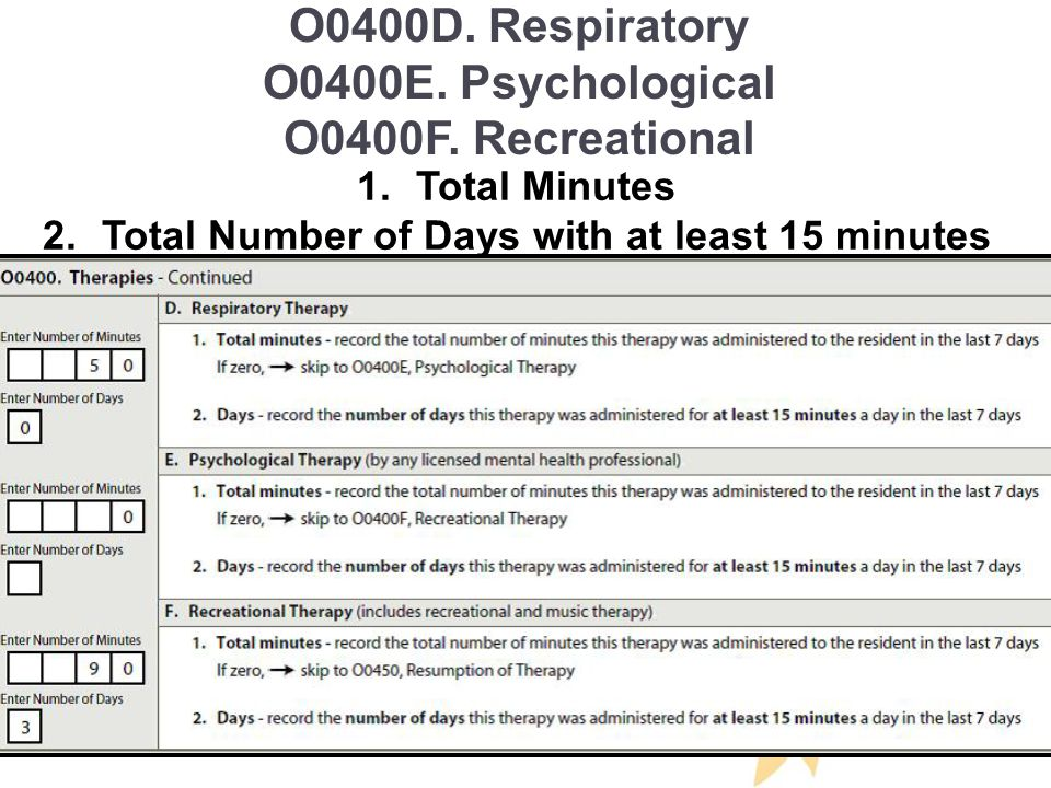 O0400D. Respiratory O0400E. Psychological O0400F.