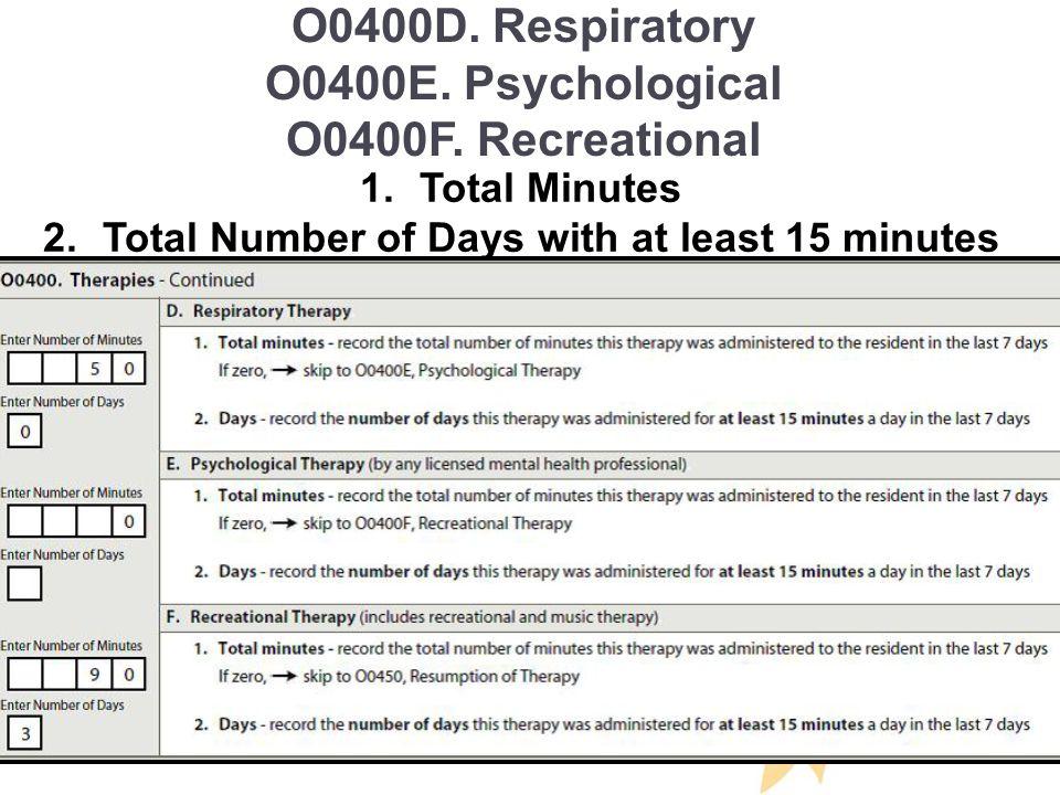 O0400D.Respiratory O0400E. Psychological O0400F.