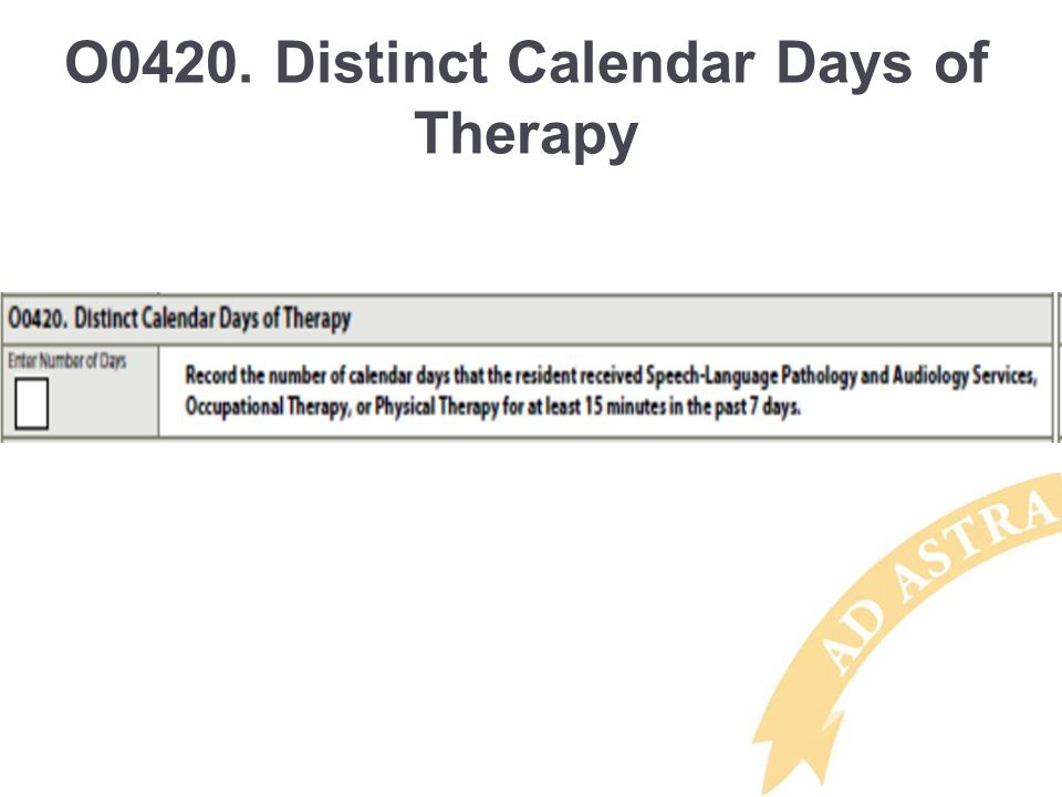 O0420. Distinct Calendar Days of Therapy