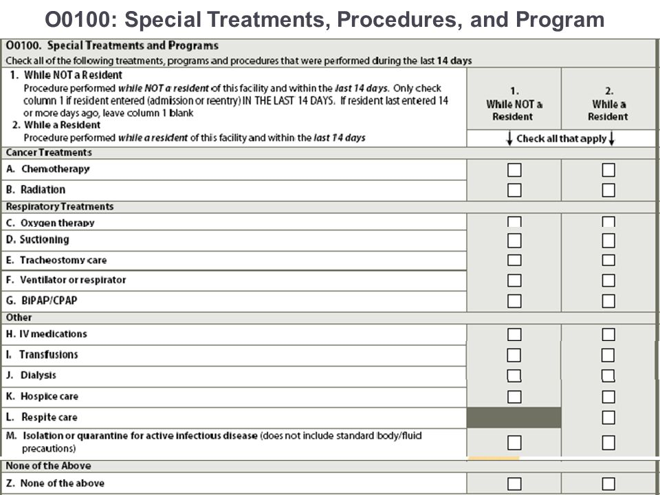 O0100: Special Treatments, Procedures, and Program